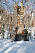 Remnants of stone fireplace from the old Civilian Conservation Corps camp along the Kancamagus Highway in Albany, New Hampshire USA. This camp is located in the now Blackberry Crossing Campground