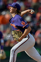Closer Holt Jones (45) of the Clemson Tigers recorded his first career save in the Reedy River Rivalry game against the South Carolina Gamecocks on Saturday, March 2, 2019, at Fluor Field at the West End in Greenville, South Carolina. Clemson won, 11-5. (Tom Priddy/Four Seam Images)