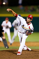 Kevin Thomas (35) of the Springfield Cardinals delivers a pitch during a game against the Tulsa Drillers at Hammons Field on July 18, 2011 in Springfield, Missouri. Tulsa defeated Springfield 13-8. (David Welker / Four Seam Images)