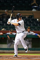 Scottsdale Scorpions shortstop JaCoby Jones (4) at bat during an Arizona Fall League game against the Mesa Solar Sox on October 20, 2015 at Scottsdale Stadium in Scottsdale, Arizona.  Mesa defeated Scottsdale 5-4.  (Mike Janes/Four Seam Images)