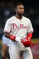 Philadelphia Phillies outfielder Domonic Brown #9 during the Major League baseball game against the Houston Astros on September 16th, 2012 at Minute Maid Park in Houston, Texas. The Astros defeated the Phillies 7-6. (Andrew Woolley/Four Seam Images).