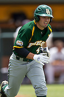 Baylor Bears designated hitter Nathan Orf #4 runs to first base during the NCAA Regional baseball game against Oral Roberts University on June 3, 2012 at Baylor Ball Park in Waco, Texas. Baylor defeated Oral Roberts 5-2. (Andrew Woolley/Four Seam Images)