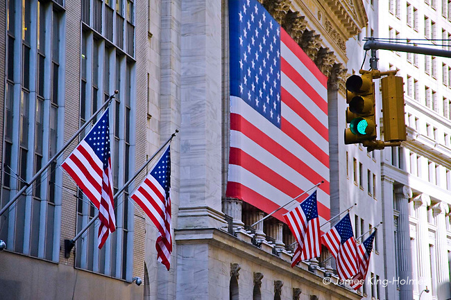 American Flag (Stars & Stripes) banner across frontage of New York Stock Exchange during the credit crunch financial crisis in 2008