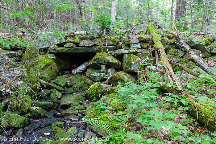 Remnants of a stone bridge along an abandoned road off the Cobble Hill Trail in Landaff, New Hampshire. This area was part of an 1800s hill farming community.