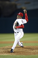 Francisco Rodriguez of the Los Angeles Angels pitches during a 2002 MLB season game at Angel Stadium, in Anaheim, California. (Larry Goren/Four Seam Images)