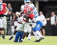 Athens, Georgia - September 15, 2018: Sanford Stadium University of Georgia Bulldogs vs Middle Tennessee State University Blue Raiders. Final score University of Georgia 49, Middle Tennessee 7.