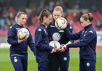 20151213 - KOELN , GERMANY : Wolfsburg 's Tessa Wullaert pictured with Ewa Pajor (right) during the female soccer match between 1.FC Koln and 1. VFL Wolfsburg , on the 11th day of the German Bundesliga season 2015-2016 in sudstadion in Koln. Sunday 13 December 2015 . PHOTO DAVID CATRY
