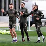 Atletico de Madrid's Kieran Trippier, Angel Correa and Lucas Torreira during training session. March 3,2021.(ALTERPHOTOS/Atletico de Madrid/Pool)