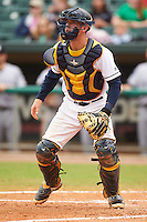 Montgomery Biscuits catcher Justin O'Conner (5) waits for the throw during a game against the Jackson Generals on April 29, 2015 at Riverwalk Stadium in Montgomery, Alabama.  Jackson defeated Montgomery 4-3.  (Mike Janes/Four Seam Images)