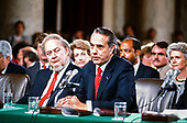 United States Senate Minority Leader Bob Dole (Republican of Kansas), right, introduces Judge Robert Bork, left, during the US Senate Committee on the Judiciary confirmation hearing on Bork's nomination by US President Ronald Reagan, as Associate Justice of the Supreme Court to succeed Justice Lewis Powell, who is retiring, in Washington, DC on September 15, 1987.<br /> Credit: Arnie Sachs / CNP