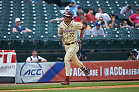 Drew Mendoza (22) of the Florida State Seminoles hustles towards home plate against the North Carolina Tar Heels in the 2017 ACC Baseball Championship Game at Louisville Slugger Field on May 28, 2017 in Louisville, Kentucky. The Seminoles defeated the Tar Heels 7-3. (Brian Westerholt/Four Seam Images)