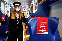 Termini Station banners, leave this sit free for social distancing<br /> Rome May 4th 2020. Covid-19, Italy enters the phase two of the coronavirus emergency. Photo Samantha Zucchi Insidefoto