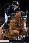 Anne-Sophie Godart of France rides Carlitto van't Zorgvlieth in action at the Longines Grand Prix during the Longines Hong Kong Masters 2015 at the AsiaWorld Expo on 15 February 2015 in Hong Kong, China. Photo by Juan Flor / Power Sport Images