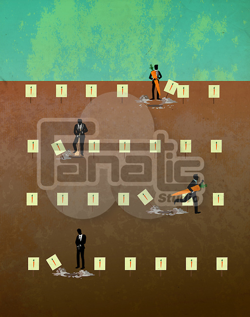 Business people in quest of carrots underground depicting the concept of incentives