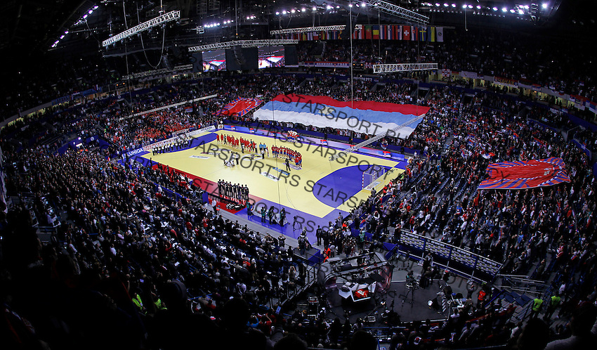 General overview of Belgrade Arena before start of men`s EHF EURO 2012 handball championship final game between Serbia and Denmark in Belgrade, Serbia, Sunday, January 29, 2011.  (photo: Pedja Milosavljevic / thepedja@gmail.com / +381641260959)