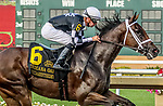 July 8, 2020: Shedaresthedevil #6, ridden by Florent Geroux, wins the Indiana Oaks on Indiana Derby Day at Indiana Grand Casino in Shelbyville, Indiana. Cady Coulardot/Eclipse Sportswire/CSM