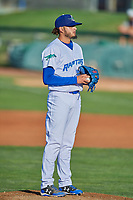 Ogden Raptors starting pitcher Juan Morillo (11) looks for the sign against the Grand Junction Rockies at Lindquist Field on August 28, 2019 in Ogden, Utah. The Rockies defeated the Raptors 8-5. (Stephen Smith/Four Seam Images)