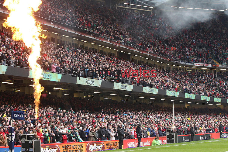The atmosphere builds in a packed Millennium Stadium before kick off.<br /> RBS 6 Nations<br /> Wales v Ireland<br /> Millennium Stadium<br /> 14.03.15<br /> ©Steve Pope - SPORTINGWALES