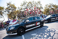 Castellon, SPAIN - SEPTEMBER 7: Segafredo Trek car during LA Vuelta 2016 on September 7, 2016 in Castellon, Spain