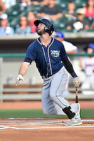 Mobile BayBears left fielder Mitch Haniger (9) swings at a pitch during a game against the Tennessee Smokies on May 27, 2015 in Kodak, Tennessee. The Smokies defeated the BayBears 3-2. (Tony Farlow/Four Seam Images)