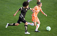 Eriko Arakawa (left) and Juliane Sitch (right) chase down the ball. FC Gold Pride defeated Sky Blue FC 1-0 at Buck Shaw Stadium in Santa Clara, California on May 3, 2009.