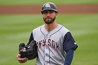 Colorado Springs Sky Sox outfielder Ben Guez (9) during a Pacific Coast League game against the Iowa Cubs on May 10th, 2015 at Principal Park in Des Moines, Iowa.  Iowa defeated Colorado Springs 14-2.  (Brad Krause/Four Seam Images)
