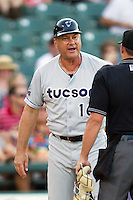 Tucson Padres Manager Terry Kennedy argues with the home plate umpire during the Pacific Coast League baseball game against the Round Rock Express on August 4th, 2012 at the Dell Diamond in Round Rock, Texas. The Padres defeated the Express 10-6. (Andrew Woolley/Four Seam Images).