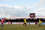 Dagenham and Redbridge 1 Burton Albion 3, 21/02/2015. Victoria Road, League Two. A header is contested. Burton Albion moved to the top of League Two following a hard-fought win over Dagenham & Redbridge played in-front of 1,718 supporters. Photo by Simon Gill.