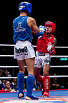 Chao Was Lan (Red) of Macau fights against Wong Kim Nam (Blue) of Hong Kong in the male muay 60KG division weight bout during the East Asian Muaythai Championships 2017 at the Queen Elizabeth Stadium on 12 August 2017, in Hong Kong, China. Photo by Yu Chun Christopher Wong / Power Sport Images