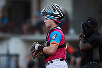 Pescados de Carolina catcher Wes Clarke (5) on defense against the Delmarva Shorebirds at Five County Stadium on September 4, 2021 in Zebulon, North Carolina. (Brian Westerholt/Four Seam Images)