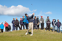 1st October 2021; Kingsbarns Golf Links, Fife, Scotland; European Tour, Alfred Dunhill Links Championship, Second round; Thomas Detry of Belgium plays from the rough on the fifth hole at Kingsbarns Golf Links