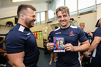 The match day programme is proudly displayed ahead of  the Greene King IPA Championship match between London Scottish Football Club and Ealing Trailfinders at Richmond Athletic Ground, Richmond, United Kingdom on 8 September 2018. Photo by David Horn.