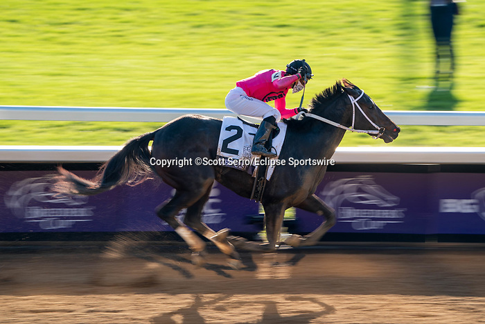 November 6, 2020: Vequist, ridden by Joel Rosario, wins the Juvenile Fillies on Breeders' Cup Championship Friday at Keeneland on November 6, 2020: in Lexington, Kentucky. Scott Serio/Eclipse Sportswire/Breeders Cup/CSM