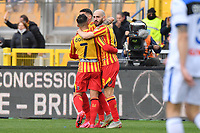 Riccardo Saponara of US Lecce celebrates with team mates after scoring the goal of 1-2<br /> Lecce 01-03-2020 Stadio Via del Mare <br /> Football Serie A 2019/2020 <br /> US Lecce - Atalanta BC<br /> Photo Carmelo Imbesi / Insidefoto