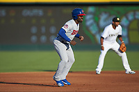 Jonathan Davis (1) of the Buffalo Bisons takes his lead off of second base against the Charlotte Knights at BB&T BallPark on July 24, 2019 in Charlotte, North Carolina. The Bisons defeated the Knights 8-4. (Brian Westerholt/Four Seam Images)