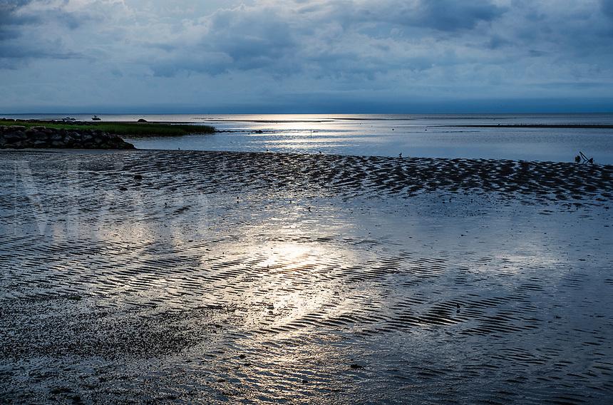Cape Cod Bay tidal flats at low tide, Brewster, Cape Cod, Massachusetts, USA.