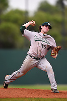 Slippery Rock pitcher Preston Falascino (18) during a game against the University of the Sciences Devils on March 6, 2015 at Jack Russell Field in Clearwater, Florida.  Slippery Rock defeated University of the Sciences 6-3.  (Mike Janes/Four Seam Images)