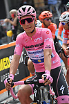 New race leader Maglis Rosa Joao Almeida (POR) Deceuninck-Quick Step lines up for the start of Stage 4 of the 103rd edition of the Giro d'Italia 2020 running 140km from Catania to Villafranca Tirrena, Sicily, Italy. 6th October 2020.  <br /> Picture: LaPresse/Gian Mattia D'Alberto   Cyclefile<br /> <br /> All photos usage must carry mandatory copyright credit (© Cyclefile   LaPresse/Gian Mattia D'Alberto)