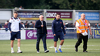 From left to right, Eastbourne Borough, First Team Assistant Manager, Ben Austin, Eastbourne Borough, First Team Manager, Danny Bloor and Nick Arnold during Maidstone United vs Eastbourne Borough, Vanarama National League South Football at the Gallagher Stadium on 9th October 2021