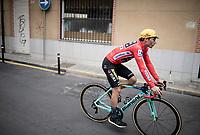 red jersey (overall leader) Primoz Roglic (SVK/Jumbo-Visma) at the stage start<br /> <br /> Stage 20: Arenas de San Pedro to Plataforma de Gredos (190km)<br /> La Vuelta 2019<br /> <br /> ©kramon