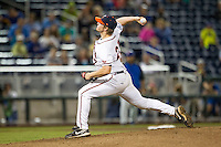Virginia Cavaliers pitcher Josh Sborz (27) delivers a pitch to the plate during the NCAA College baseball World Series against the Florida Gators on June 15, 2015 at TD Ameritrade Park in Omaha, Nebraska. Virginia defeated Florida 1-0. (Andrew Woolley/Four Seam Images)