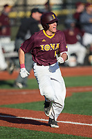 Brian Picone (15) of the Iona Gaels hustles down the first base line against the Rutgers Scarlet Knights at City Park on March 8, 2017 in New Rochelle, New York.  The Scarlet Knights defeated the Gaels 12-3.  (Brian Westerholt/Four Seam Images)