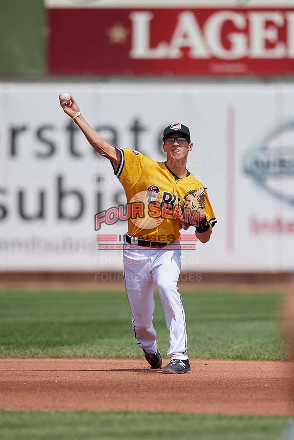 Erie SeaWolves shortstop Cole Peterson (10) throws to first base during an Eastern League game against the Altoona Curve and on June 4, 2019 at UPMC Park in Erie, Pennsylvania.  Altoona defeated Erie 3-0.  (Mike Janes/Four Seam Images)