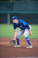 Ogden Raptors first baseman Dillon Paulson (14) during a Pioneer League game against the Orem Owlz at Home of the OWLZ on August 24, 2018 in Orem, Utah. The Ogden Raptors defeated the Orem Owlz by a score of 13-5. (Zachary Lucy/Four Seam Images)