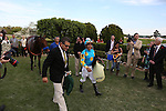 April 11, 2015: American Pharoah, co-trainer Jimmy Barnes and jockey Victor Espinoza leaving the winners circle after the Arkansas Derby at Oaklawn Park in Hot Springs, AR. Justin Manning/ESW/CSM