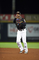 Quad Cities River Bandits second baseman Jose Fernandez (4) throws to first during the second game of a doubleheader against the Wisconsin Timber Rattlers on August 19, 2015 at Modern Woodmen Park in Davenport, Iowa.  Quad Cities defeated Wisconsin 8-1.  (Mike Janes/Four Seam Images)