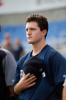 Lakeland Flying Tigers starting pitcher Casey Mize (32) stands for the national anthem before a game against the Dunedin Blue Jays on July 31, 2018 at Dunedin Stadium in Dunedin, Florida.  Dunedin defeated Lakeland 8-0.  (Mike Janes/Four Seam Images)