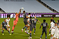 ST PAUL, MN - NOVEMBER 4: Dayne St. Clair #97 of Minnesota United FC during a game between Chicago Fire and Minnesota United FC at Allianz Field on November 4, 2020 in St Paul, Minnesota.