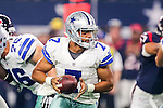 Dallas Cowboys quarterback Jameill Showers (7) in action during the pre-season game between the Houston Texans and the Dallas Cowboys at the AT & T stadium in Arlington, Texas.
