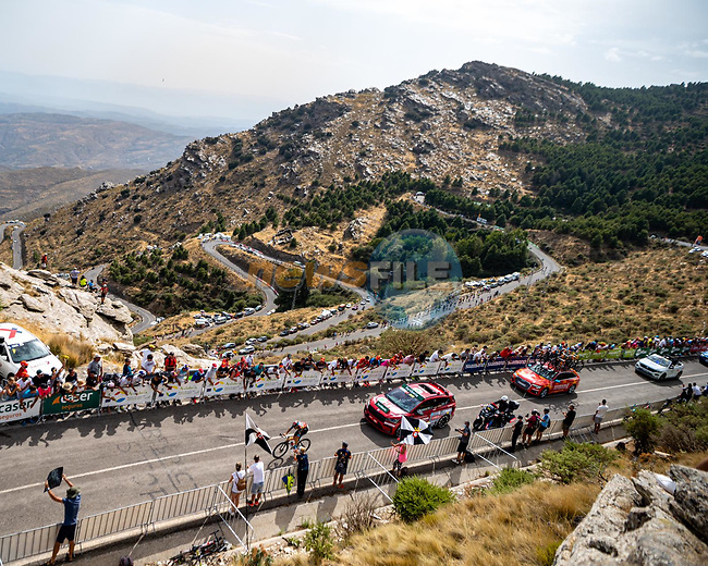 Damiano Caruso (ITA) Bahrain Victorious out front solo during Stage 9 of La Vuelta d'Espana 2021, running 188km from Puerto Lumbreras to Alto de Velefique, Spain. 22nd August 2021.    <br /> Picture: Cxcling | Cyclefile<br /> <br /> All photos usage must carry mandatory copyright credit (© Cyclefile | Cxcling)